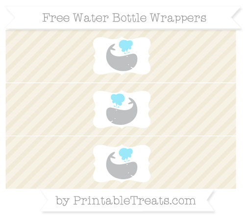 Free Eggshell Diagonal Striped Whale Water Bottle Wrappers