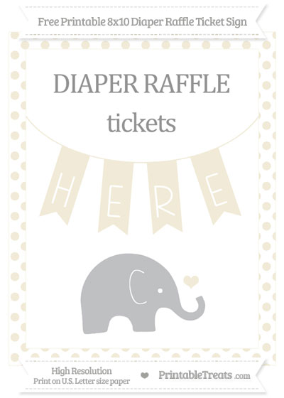 Free Eggshell Dotted Baby Elephant 8x10 Diaper Raffle Ticket Sign