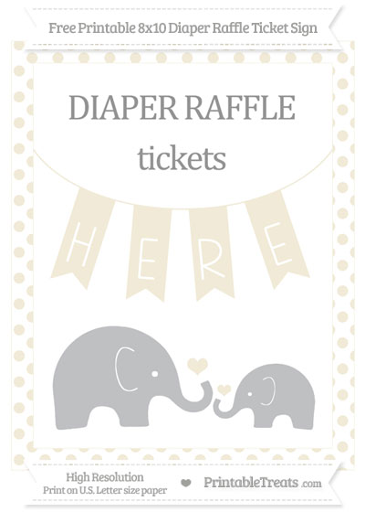Free Eggshell Dotted Elephant 8x10 Diaper Raffle Ticket Sign