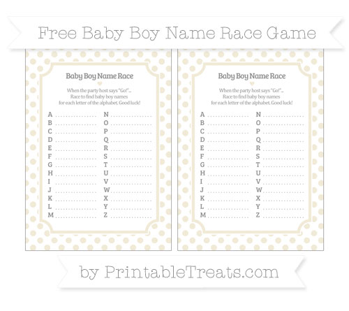 Free Eggshell Dotted Pattern Baby Boy Name Race Game