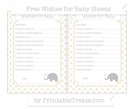 Free Eggshell Dotted Pattern Baby Elephant Wishes for Baby Sheets