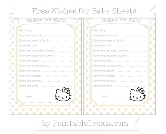 Free Eggshell Dotted Pattern Hello Kitty Wishes for Baby Sheets