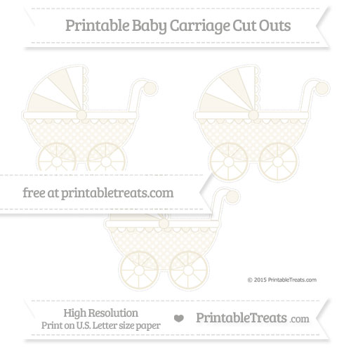 Free Eggshell Dotted Pattern Medium Baby Carriage Cut Outs