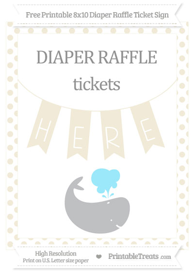 Free Eggshell Dotted Whale 8x10 Diaper Raffle Ticket Sign