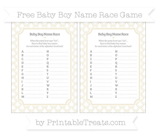 Free Eggshell Fish Scale Pattern Baby Boy Name Race Game