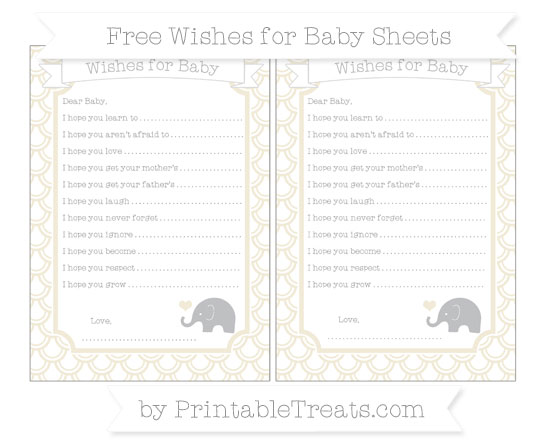 Free Eggshell Fish Scale Pattern Baby Elephant Wishes for Baby Sheets