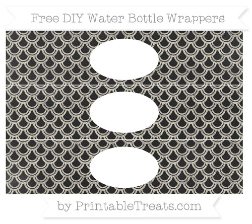 Free Eggshell Fish Scale Pattern Chalk Style DIY Water Bottle Wrappers
