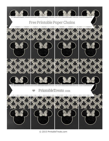 Free Eggshell Fish Scale Pattern Chalk Style Minnie Mouse Paper Chains