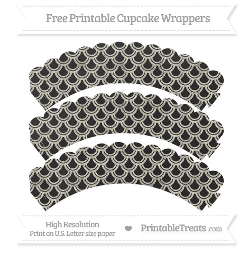 Free Eggshell Fish Scale Pattern Chalk Style Scalloped Cupcake Wrappers