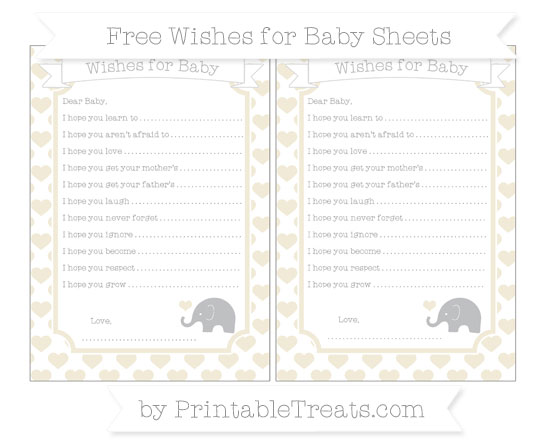 Free Eggshell Heart Pattern Baby Elephant Wishes for Baby Sheets