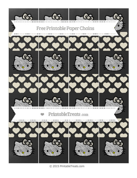 Free Eggshell Heart Pattern Chalk Style Hello Kitty Paper Chains