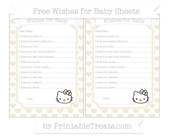 Free Eggshell Heart Pattern Hello Kitty Wishes for Baby Sheets