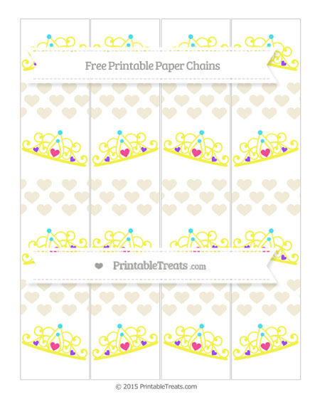 Free Eggshell Heart Pattern Princess Tiara Paper Chains