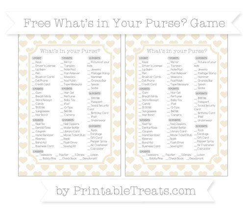 Free Eggshell Heart Pattern What's in Your Purse Baby Shower Game