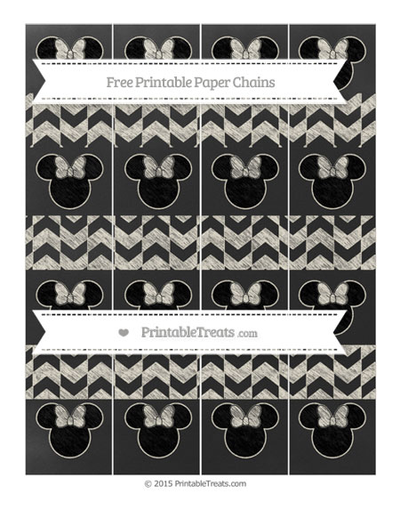 Free Eggshell Herringbone Pattern Chalk Style Minnie Mouse Paper Chains