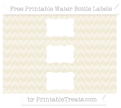 Free Eggshell Herringbone Pattern Water Bottle Labels