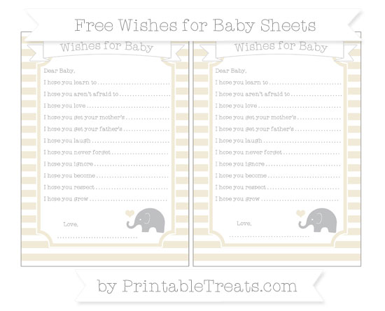 Free Eggshell Horizontal Striped Baby Elephant Wishes for Baby Sheets