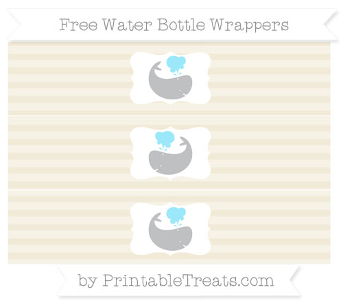 Free Eggshell Horizontal Striped Whale Water Bottle Wrappers