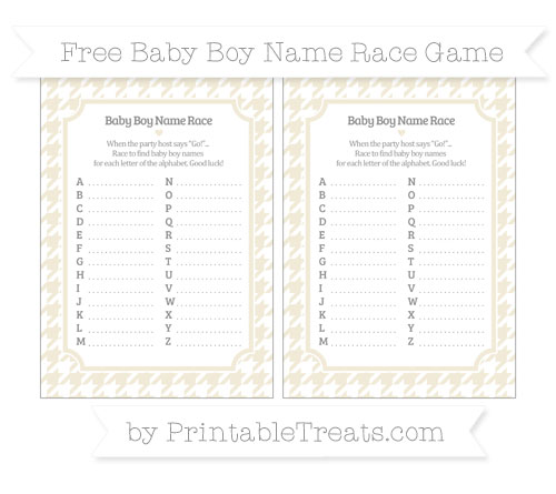 Free Eggshell Houndstooth Pattern Baby Boy Name Race Game