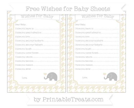 Free Eggshell Houndstooth Pattern Baby Elephant Wishes for Baby Sheets
