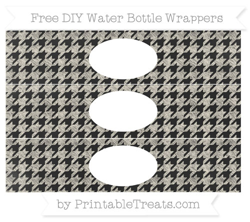 Free Eggshell Houndstooth Pattern Chalk Style DIY Water Bottle Wrappers