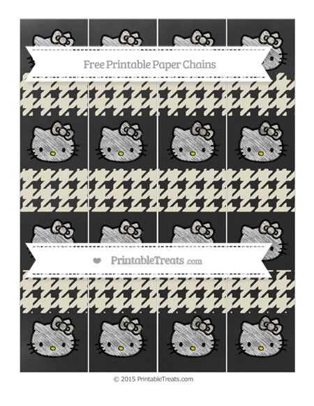 Free Eggshell Houndstooth Pattern Chalk Style Hello Kitty Paper Chains