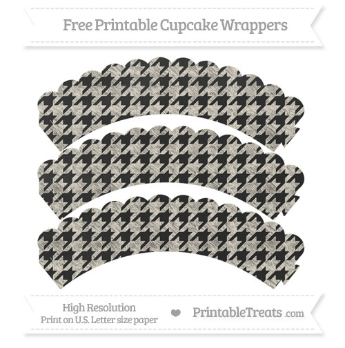 Free Eggshell Houndstooth Pattern Chalk Style Scalloped Cupcake Wrappers
