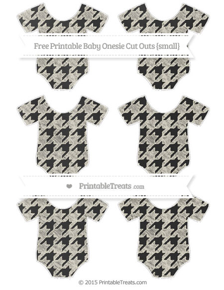 Free Eggshell Houndstooth Pattern Chalk Style Small Baby Onesie Cut Outs