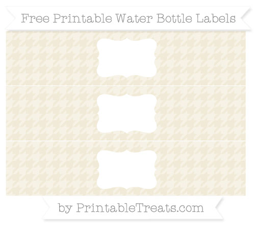 Free Eggshell Houndstooth Pattern Water Bottle Labels