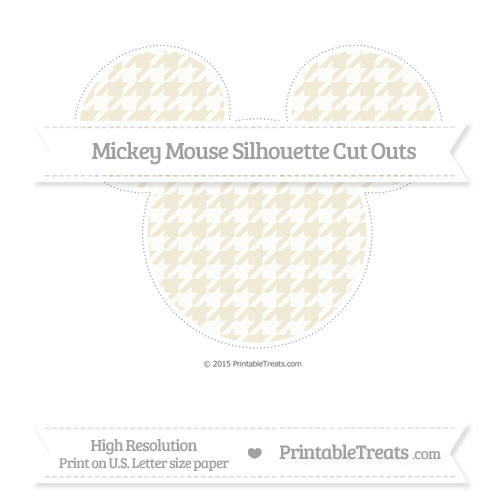 Free Eggshell Houndstooth Pattern Extra Large Mickey Mouse Silhouette Cut Outs