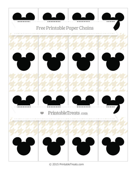 Free Eggshell Houndstooth Pattern Mickey Mouse Paper Chains