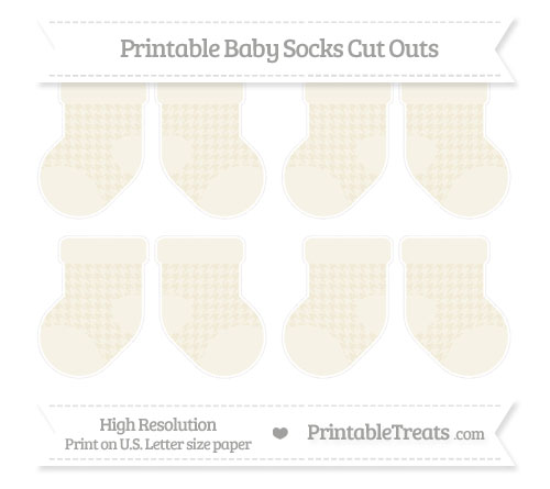 Free Eggshell Houndstooth Pattern Small Baby Socks Cut Outs