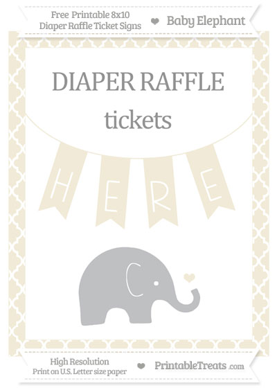 Free Eggshell Moroccan Tile Baby Elephant 8x10 Diaper Raffle Ticket Sign
