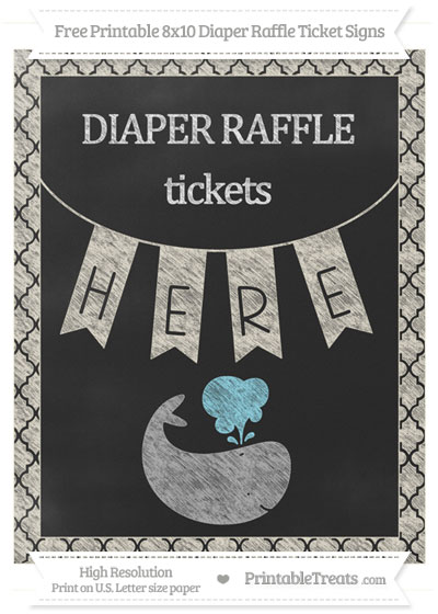 Free Eggshell Moroccan Tile Chalk Style Whale 8x10 Diaper Raffle Ticket Sign
