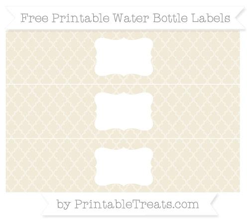 Free Eggshell Moroccan Tile Water Bottle Labels