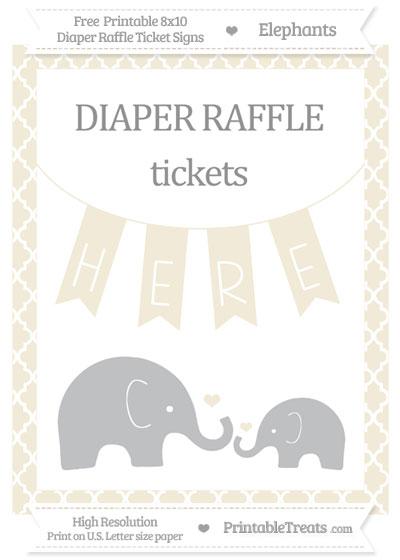 Free Eggshell Moroccan Tile Elephant 8x10 Diaper Raffle Ticket Sign