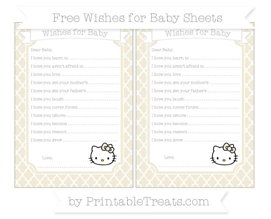 Free Eggshell Moroccan Tile Hello Kitty Wishes for Baby Sheets