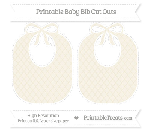 Free Eggshell Moroccan Tile Large Baby Bib Cut Outs