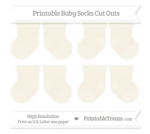 Free Eggshell Moroccan Tile Small Baby Socks Cut Outs