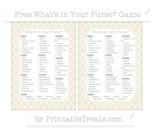 Free Eggshell Moroccan Tile What's in Your Purse Baby Shower Game