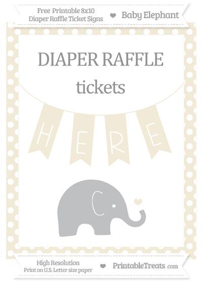 Free Eggshell Polka Dot Baby Elephant 8x10 Diaper Raffle Ticket Sign