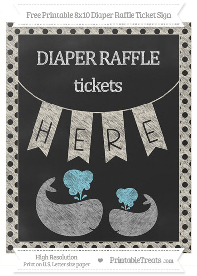 Free Eggshell Polka Dot Chalk Style Baby Whale 8x10 Diaper Raffle Ticket Sign