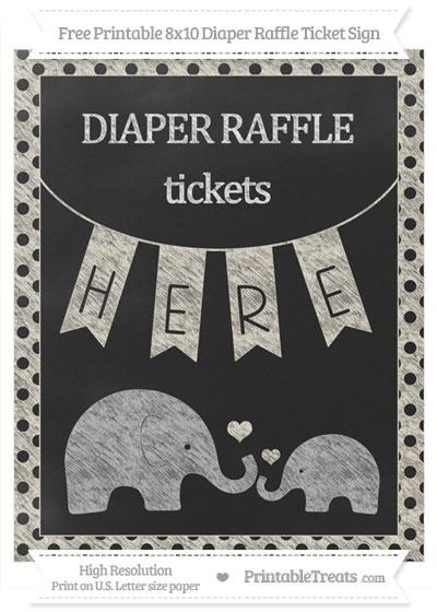 Free Eggshell Polka Dot Chalk Style Elephant 8x10 Diaper Raffle Ticket Sign