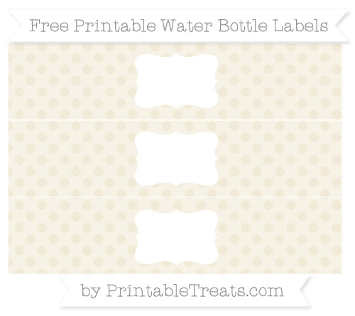 Free Eggshell Polka Dot Water Bottle Labels