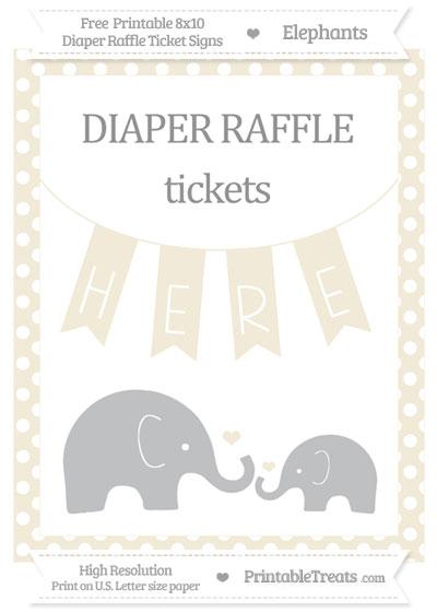 Free Eggshell Polka Dot Elephant 8x10 Diaper Raffle Ticket Sign