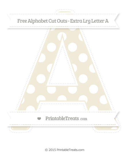 Free Eggshell Polka Dot Extra Large Capital Letter A Cut Outs