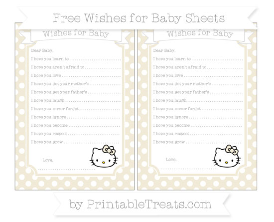 Free Eggshell Polka Dot Hello Kitty Wishes for Baby Sheets