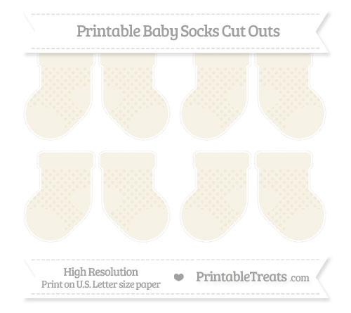 Free Eggshell Polka Dot Small Baby Socks Cut Outs