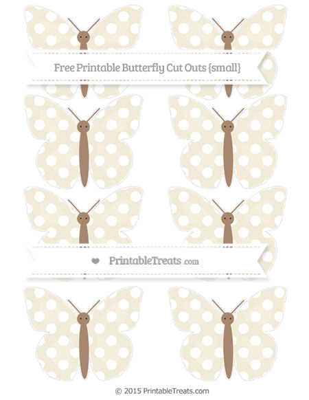 Free Eggshell Polka Dot Small Butterfly Cut Outs