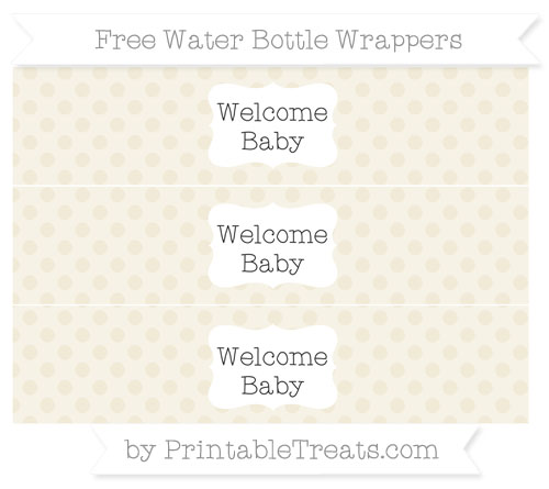 Free Eggshell Polka Dot Welcome Baby Water Bottle Wrappers